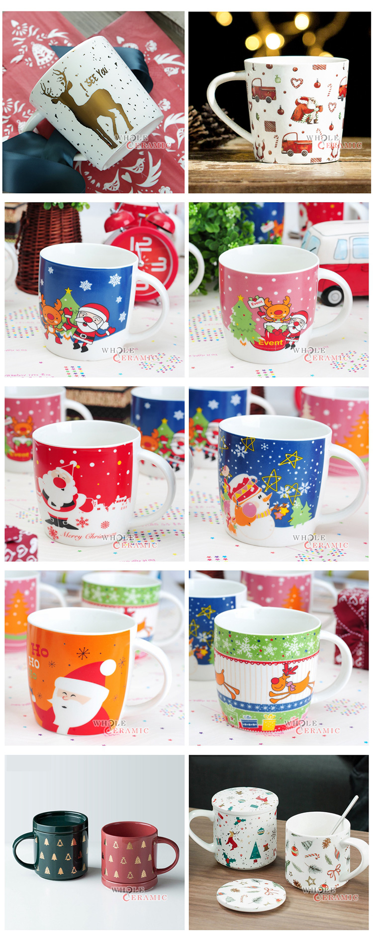 Customized Ceramic Christmas Coffee Cup Mug With Box, Santa Mug For Christmas Market With Gold Decoration