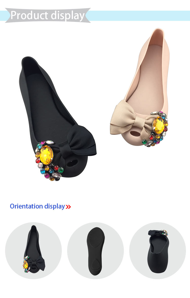 Fancy Lady Rhinestone Bowknot Flat Slip On Sandals Women Jelly Shoes