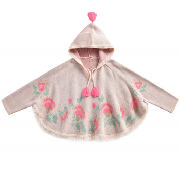 High Quality Kids Winter Toddler Girls Pale Pink Floral Jacquard Hooded Sweater Cape