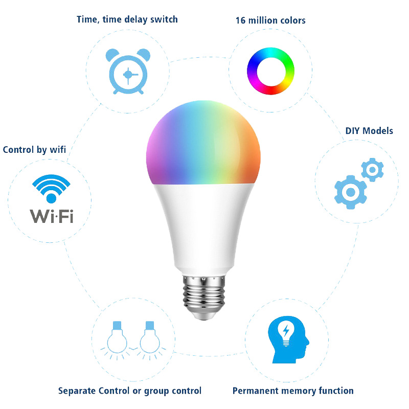 Wholesale 7W 9W Wifi Led Lamp Lights Wifi RGB LED E26 E27 Smart Home Lighting Remote Control Smart Led Light Bulb