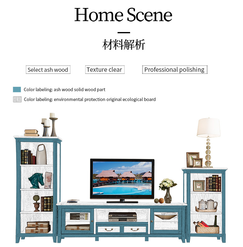Living room modern furniture solid wood furniture luxury standing TV cabinet