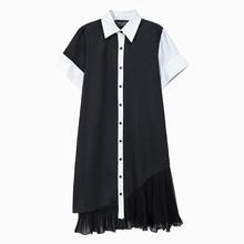 Платье-рубашка, Черное и белое, из шифона, для офиса, опт, 5911(Китай)