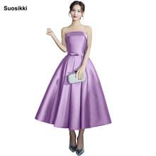 Платье для выпускного вечера, вечерние платья трапециевидной формы, Vestido de Festa 2019 suosikki, атласные вечерние платья без бретелек(Китай)
