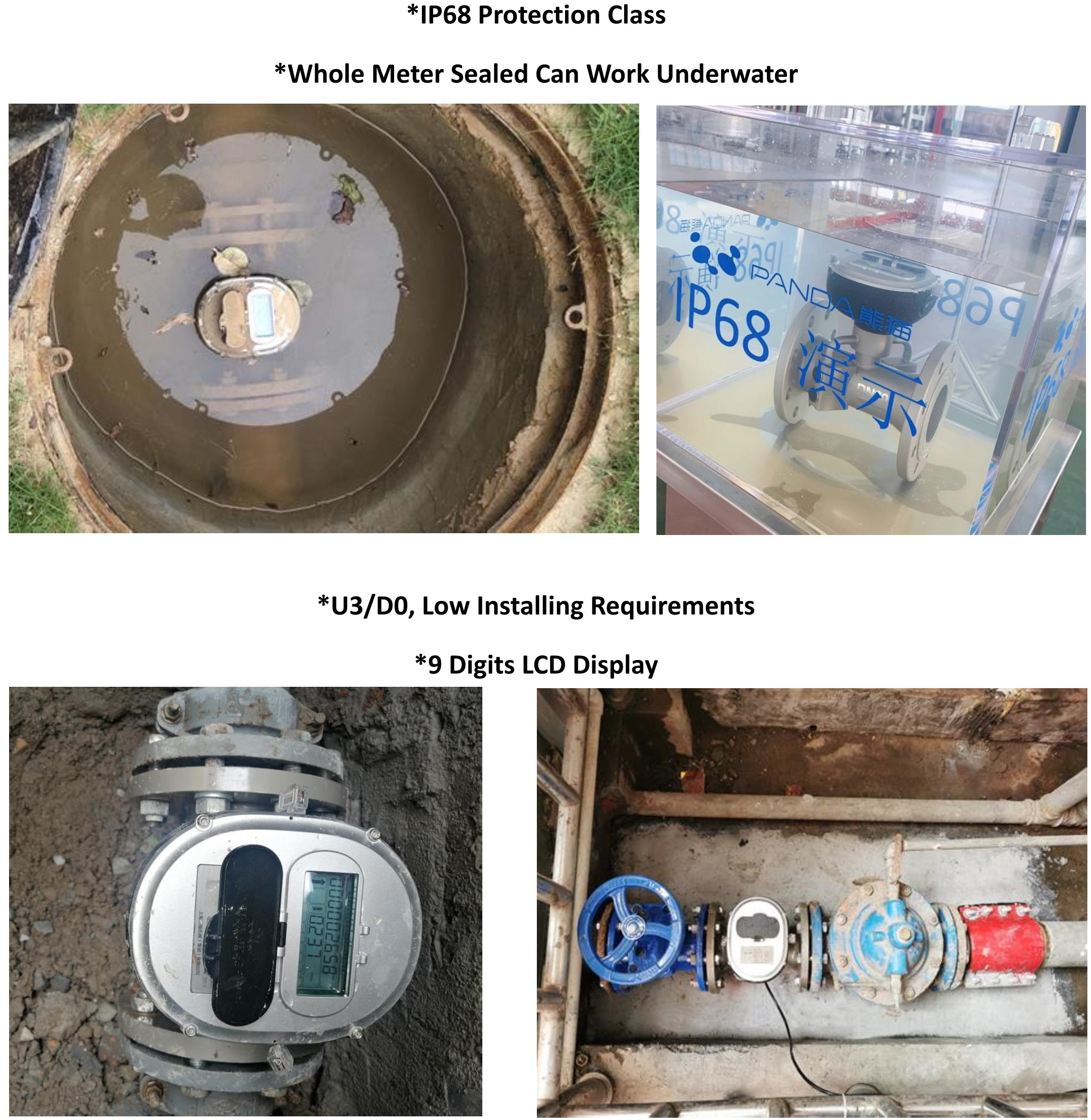 Digital Water Meter Cold Ultrasonic Water Meter Price IP68 SS304