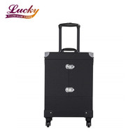 Rolling Makeup Cosmetic Train Case Trolley Cosmetic Luggage Case Large with 4 Removable Spinner Wheels
