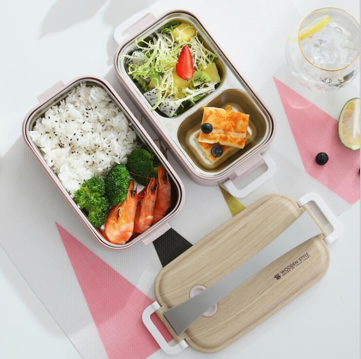 LULA 1600ml en bois couleur couvercle 304 en acier inoxydable double couches boîte à lunch de préparation de repas avec poignée