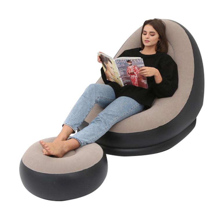 Inflatable Lounge Chair with Ottoman Blow Up Chaise Lounge Portable Lazy Sofa Set Indoor Outdoor