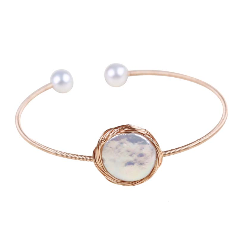 women 18K gold-filled real freshwater cultured pearl bracelet jewelry fresh water pearl bangles