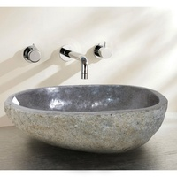 Indonesia natural river stone wash basin with edging for bathroom