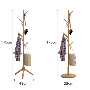 Minimalist multifunctional home furniture kids adult floor wooden tree coat rack stand