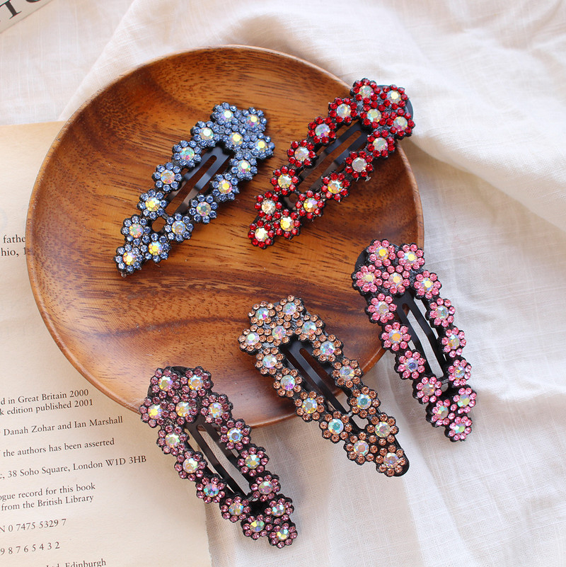 Leather full rhinestone hair clips simple BB clip flower hairpin women hair accessories
