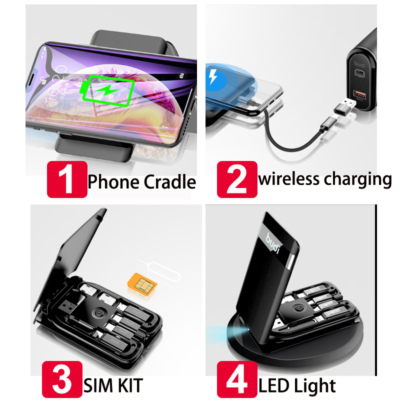 hot items 2020 new products customized logo wireless charger 3 in 1 electric power station new gadgets 2020 from budi factory