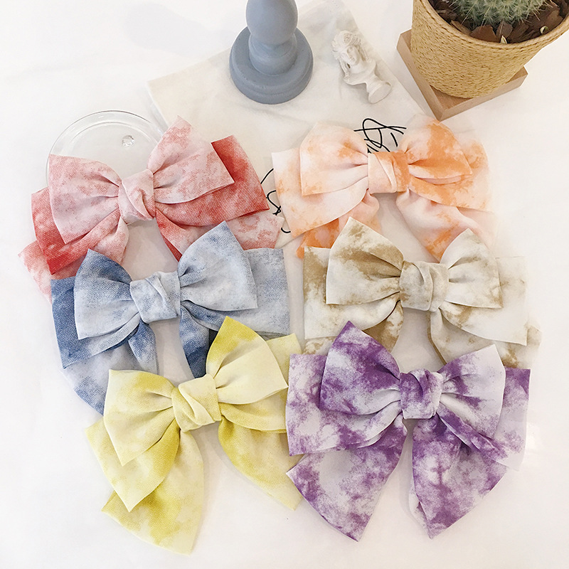 Chiffon gradient three big bowknot spring hairpin sweet pony tail clip hair accessories women