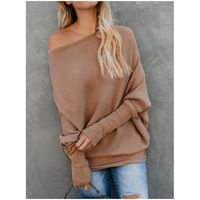 2019 Guangzhou Factory Women Bat Sleeving Long Sleeve Knitted Top Casual Apparel