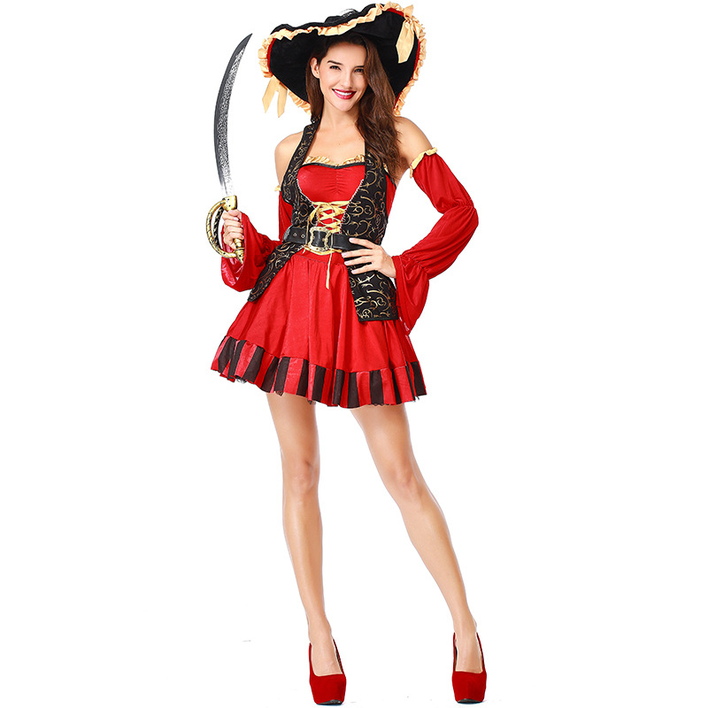 Halloween Cosplay Costumes Sexy Red Women Pirate Costume Fancy Party Dress With Belt