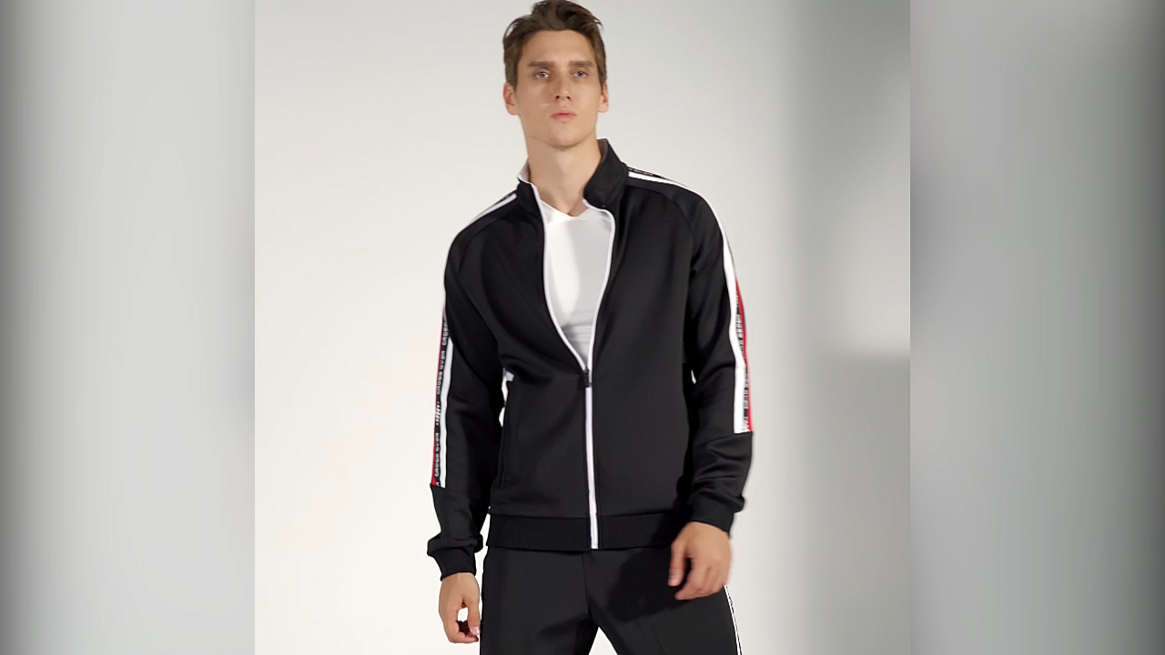 Customize Tracksuits Unisex Red With White Striped Jacket Poly Spandex Tracksuit