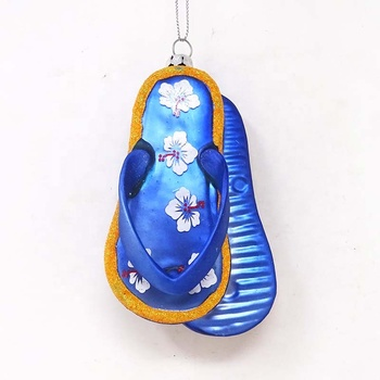 New glass creative beach slippers christmas tree decoration hanging