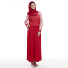 Low Price Dubai Latest Abaya Designs Islamic Clothing Long Sleeved Sexy Red Muslim Dress