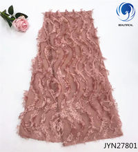 Красивая Белая африканская кружевная ткань, новейшая Свадебная шифоновая сетчатая кружевная ткань для свадьбы, 3d Длинная шерстяная францу...(Китай)