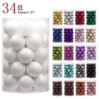 High quality in stock Christmas decorations artificial hanging ball 40mm 4cm 34pcs white plastic christmas balls set ornaments