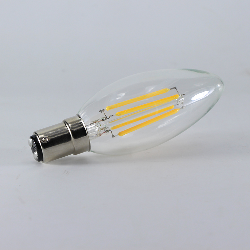 220V LED Candle Filament Light Bulbs Dimmable B15 SBC Bayonet 4W Vintage Warm White 2700K LED Edison Bulb