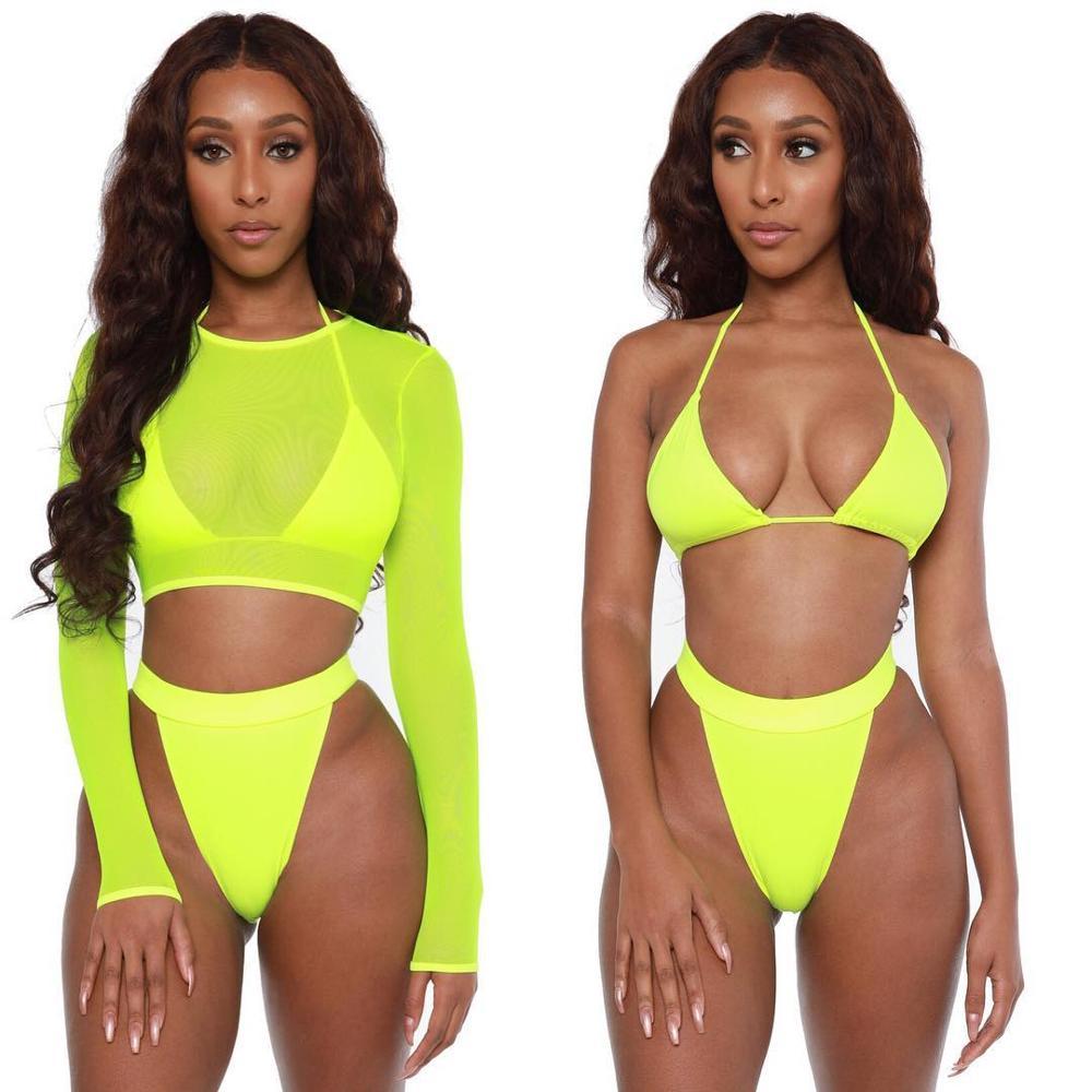 2020 sıcak satış özel 3 üç adet mayo kadınlar örgü seksi Bikini uzun kollu yüksek belli mayo bayanlar mayo