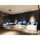 Luxury Sofa Fabric With Luxury 3 4 Chaise Lounge Luxury Big Chesterfield Sofa Blue White Fabric With Imitation Leather Sofa
