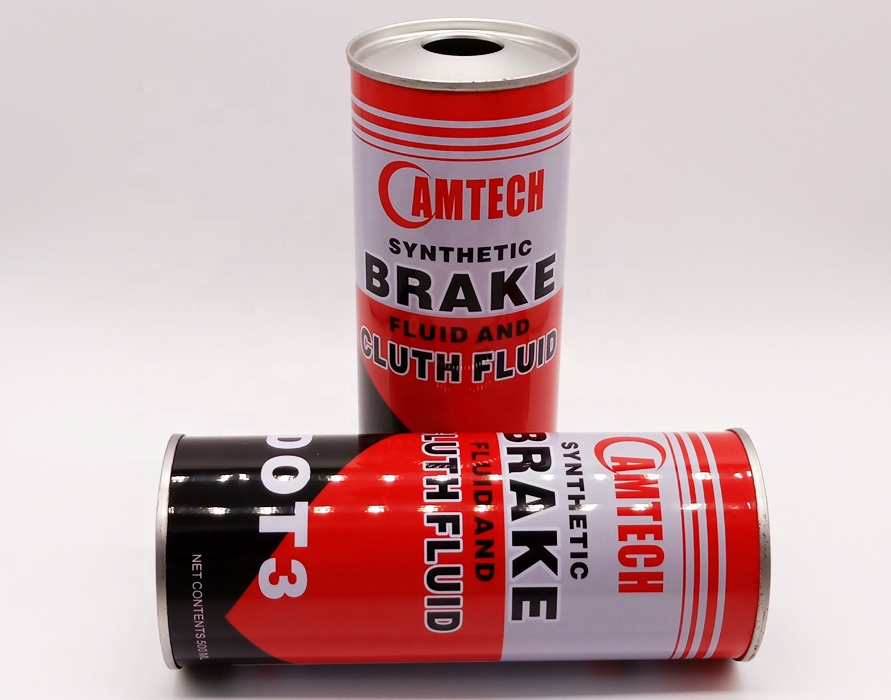 250ml 500ml Empty engine oil lubricate oil can metal round tin for brake fluid packaging