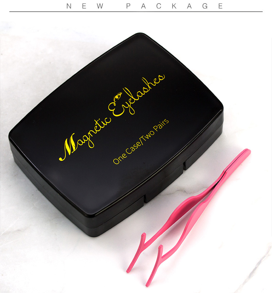 OEM Magnetic eyelashes 4 part magnets handmade 3D/6D magnet lashes natural false eyelash comfortable with Gift Box