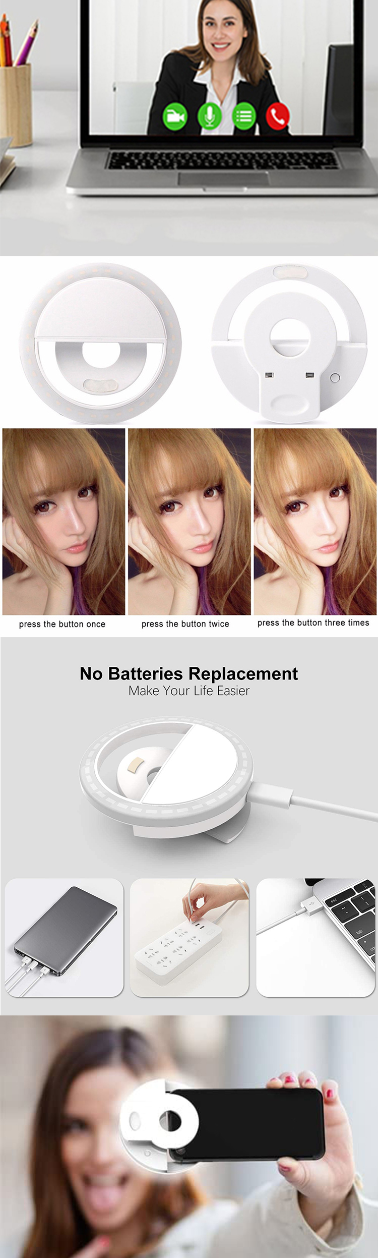2020 Amazon Vendita Calda LED del telefono delle cellule di Riempimento in Portatile Universale girl make up Selfie anello di Luce Flash Selfie Lampada