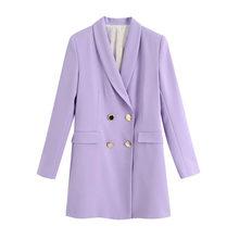 Женский двубортный Блейзер KPYTOMOA, винтажный пиджак с длинными рукавами и карманами с клапаном, верхняя одежда, 2020(Китай)
