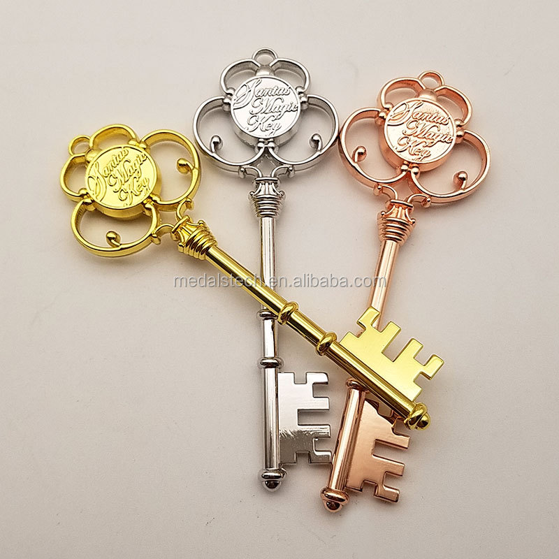 In Stock  Variety Shiny Antique Plating Metal Magic Santa Key with Red Ribbon For Christmas