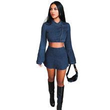 ANJAMANOR синий деним сексуальный комплект из двух частей юбка женская одежда осень зима Клубные наряды модные одинаковые комплекты D74-AG23(Китай)