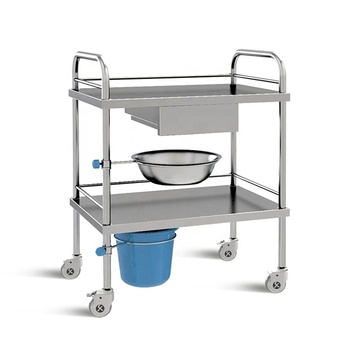 SKH002 Stainless Steel Medical Instrument Trolley With Drawers