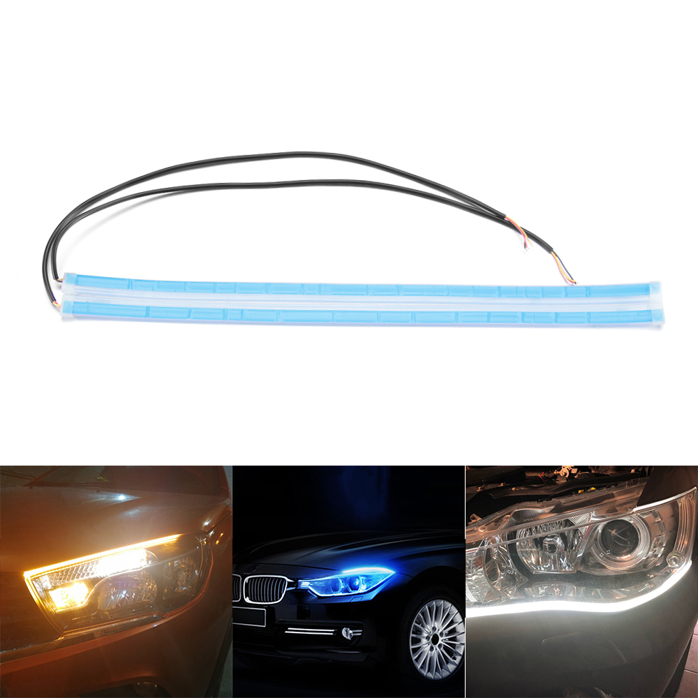 High quality Ultra Thin Car Soft Tube LED Strip DRL Turn Signal Lamp Daytime Running Light Flowing Water Automobiles Accessories