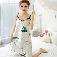 2020 женские ночные рубашки, сексуальные кружевные атласные пижамы, мультяшная Ночная сорочка, летняя Ночная рубашка без рукавов(Китай)