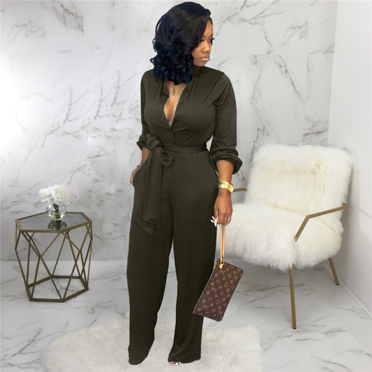 2020 Antumn/Winter Women Casual Clothing Women Sexy Stylish Belt Jumpsuit