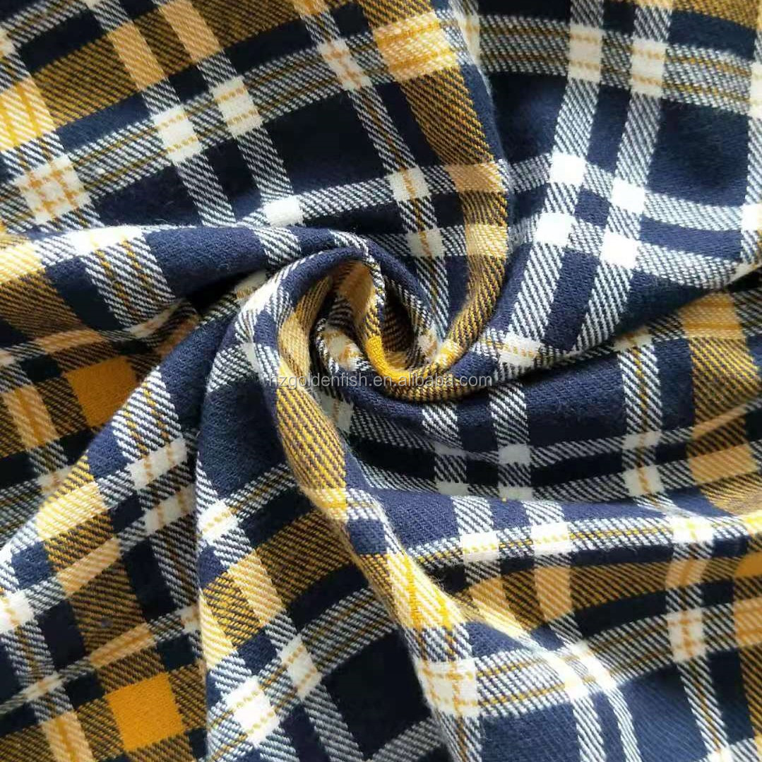 100% Cotton Plaid  Yarn Dyed Cotton Flannel Shirting Fabric Wholesale