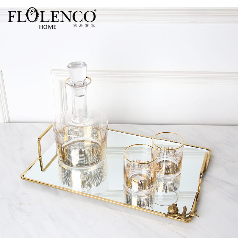Modern luxury gold wine serving tray mirror decorative glass tray with handle