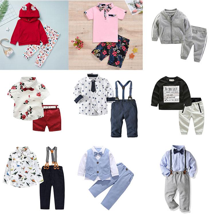 2019 पुष्प फैशन जेंटलमैन कपास आकस्मिक पंत क्रिसमस बुटीक बच्चे लड़कों के कपड़े सेट