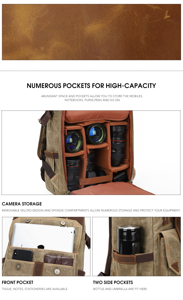 Liansheng fashion waterproof wax canvas leather dslr canon photography storage camera bags for cameras