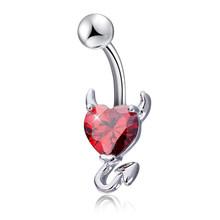 1 шт., сексуальные кольца для пупка, с кристаллами циркония, вечерние украшения для тела, 14 г(Китай)