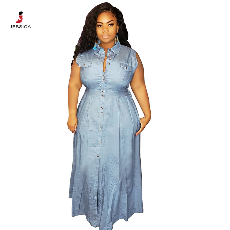 Jassica hot sale dress washed denim jeans lovely casual maxi dress for ladies