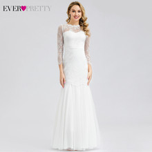 Ever Pretty, элегантные кружевные свадебные платья с треугольным вырезом, а-силуэта, на молнии, сексуальные белые вечерние свадебные платья EP00806WH...(Китай)