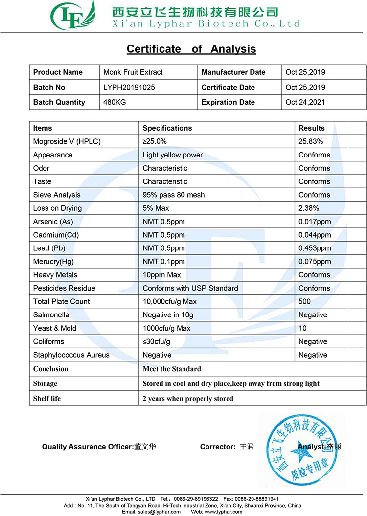 Luo Han Guo Sugar Mogroside V Organic Monk Fruit Extract