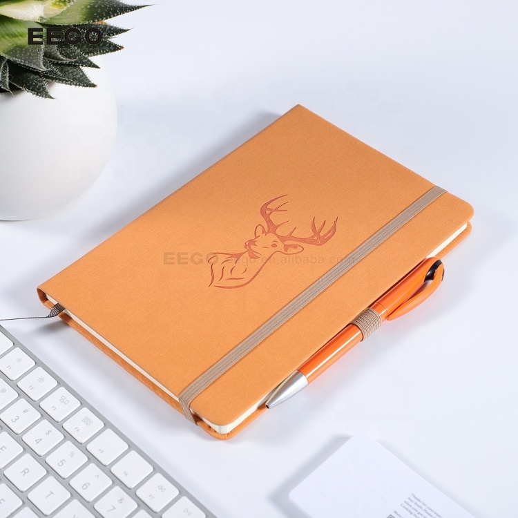 high quality free sample personalized printed pu leather custom a5 hardcover dotted notebook with logo