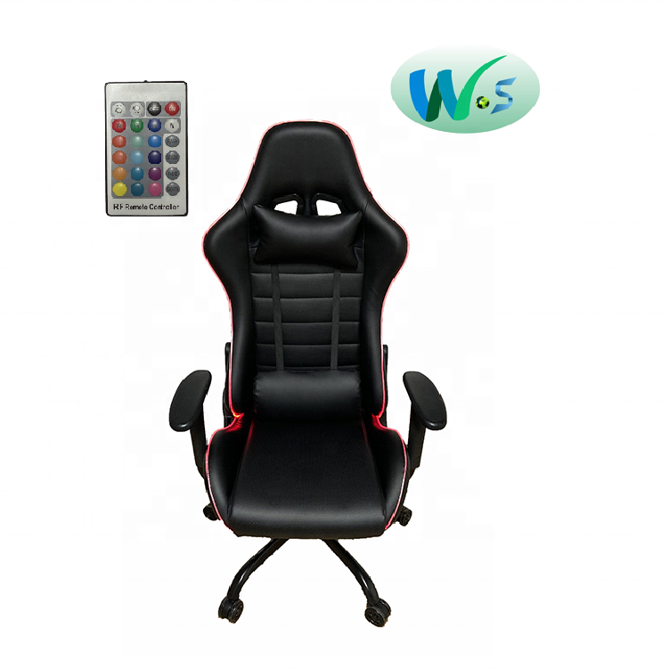WS08 In stock hot sale RGB LED light gaming chair OEM stocked race racing office gaming chair LED light RGB speaker choiceable