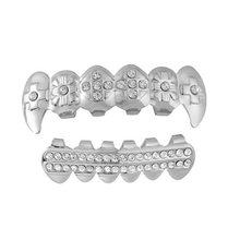 Панк серебро/золотые зубы Grillz хип-хоп грили зубной рта модные зубы шапки Косплей вечерние рэпперы грили зубы Ювелирные изделия Подарки(Китай)