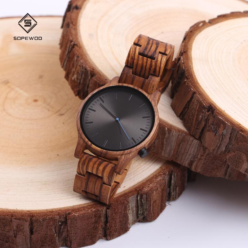 New high quality assurance oem mens women fashion custom logo bamboo wood quartz watch price, Black sandalwood/zebrawood