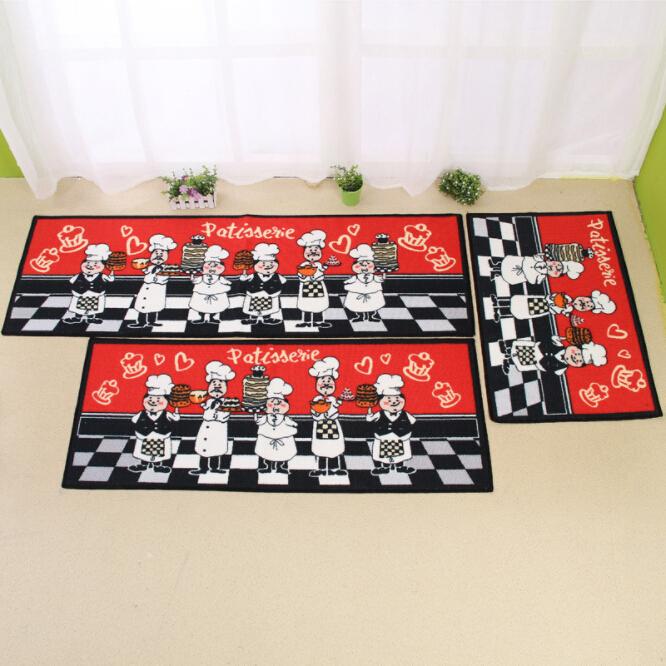 욕실 부드러운 흡수성 Doormat 요리사 모자 인쇄 바닥 카펫 터키어 비 슬립 욕실 바닥 레드 카펫 카펫